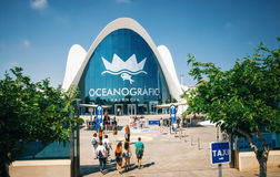 Oceanographic in Valencia, Spain. Valencia, Spain - June 2, 2016. People go to the Oceanographic, a marine complex in Valencia, Spain. Part of City of Arts and Royalty Free Stock Photo