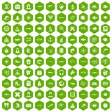 100 oceanologist icons hexagon green Royalty Free Stock Images