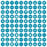 100 oceanologist icons sapphirine violet. 100 oceanologist icons set in sapphirine hexagon isolated vector illustration Royalty Free Stock Photos