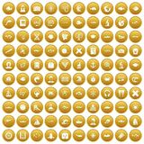100 oceanologist icons set gold. 100 oceanologist icons set in gold circle isolated on white vectr illustration stock illustration