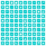 100 oceanologist icons set grunge blue Stock Image