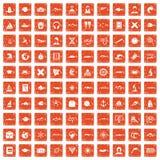 100 oceanologist icons set grunge orange. 100 oceanologist icons set in grunge style orange color isolated on white background vector illustration vector illustration