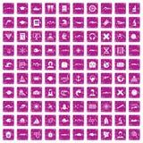 100 oceanologist icons set grunge pink. 100 oceanologist icons set in grunge style pink color isolated on white background vector illustration Royalty Free Stock Photos