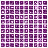 100 oceanologist icons set grunge purple Royalty Free Stock Image