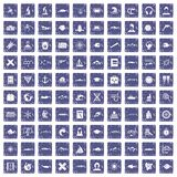 100 oceanologist icons set grunge sapphire. 100 oceanologist icons set in grunge style sapphire color isolated on white background vector illustration Stock Image