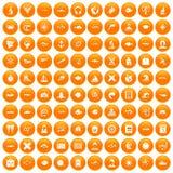 100 oceanologist icons set orange. 100 oceanologist icons set in orange circle isolated vector illustration Royalty Free Stock Images