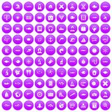 100 oceanologist icons set purple. 100 oceanologist icons set in purple circle isolated vector illustration Royalty Free Stock Images