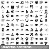 100 oceanologist icons set, simple style Stock Photography