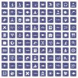 100 oceanologistpictogrammen geplaatst grunge saffier Stock Afbeelding