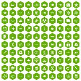 100 oceanology icons hexagon green. 100 oceanology icons set in green hexagon isolated vector illustration vector illustration
