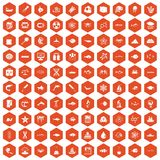 100 oceanology icons hexagon orange Royalty Free Stock Image
