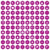 100 oceanology icons hexagon violet. 100 oceanology icons set in violet hexagon isolated vector illustration stock illustration