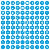 100 oceanology icons set blue. 100 oceanology icons set in blue hexagon isolated vector illustration vector illustration
