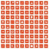 100 oceanology icons set grunge orange. 100 oceanology icons set in grunge style orange color isolated on white background vector illustration vector illustration
