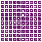 100 oceanology icons set grunge purple Stock Photography