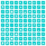 100 oceanology icons set grunge blue Royalty Free Stock Photography
