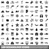 100 oceanology icons set, simple style. 100 oceanology icons set in simple style for any design vector illustration Royalty Free Stock Images
