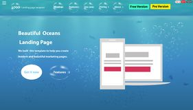The Oceans life web page is a beautiful responsive Landing Page template. stock illustration