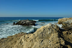 Oceanside beach and rocks. At Leo Carill Beach near Malibu in California, USA Royalty Free Stock Photography