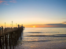 Oceanside Beach Sunset, California Royalty Free Stock Photo