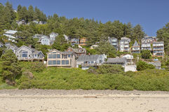 Oceanside beach and township Oregon state. Stock Image