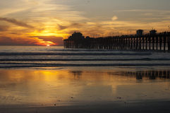 Oceanside, CA pier sunset. Royalty Free Stock Images