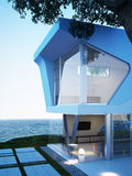 Oceanside modern architecture with an ocean view. Royalty Free Stock Photo