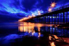 Oceanside Pier. Oceanside, California Pier just after sunset on a cloudy evening Royalty Free Stock Image