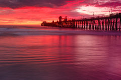 Oceanside Pier Sunset Royaltyfri Fotografi