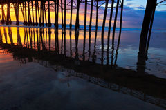Oceanside Pier at Sunset. This image is of the Oceanside, California pier just after sunset.  The image was captured in the winter.  The pier pilings are Royalty Free Stock Photography