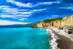Oceanside resorts and beach at Camogli, Italy Stock Photography