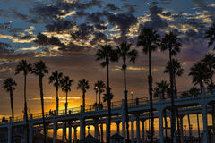 Oceanside sunset. Dramatic and colorful sunset at the Oceanside Pier, Oceanside, California, USA Royalty Free Stock Photos