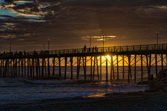 Oceanside sunset. Dramatic and colorful sunset at the Oceanside Pier, Oceanside, California, USA Stock Photo