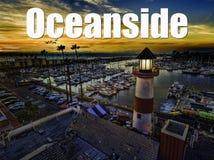 Oceansidehamn på solnedgången Royaltyfria Bilder