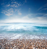 oceanu błękitny niebo Fotografia Royalty Free
