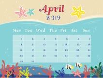 Oceanu kalendarz Kwiecień 2019 zdjęcie stock