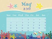 Oceanu kalendarz Maj 2019 ilustracja wektor