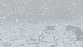 Oceanu miasto, ciężarówki karawany i latanie samolot przy snowing zbiory