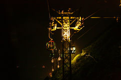 Oceanu parkowy wagon kolei linowej przy nocą Obraz Stock