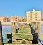 Oceanu przypływu spadek na coney wyspie nowy York Fotografia Stock