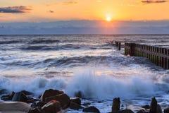 Oceanu wschodu słońca Zewnętrzni banki Pólnocna Karolina obrazy royalty free