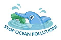 Oceanu zanieczyszczenia pojęcie Delfin pyta przerwie zanieczyszczenie ocean royalty ilustracja