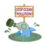 Oceanu zanieczyszczenia pojęcie Delfin w masce gazowej pyta zatrzymywać zanieczyszczenie ocean ilustracja wektor
