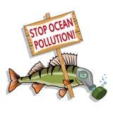 Oceanu zanieczyszczenia pojęcie Denna ryba pyta przerwie zanieczyszczenie ocean royalty ilustracja