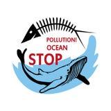Oceanu zanieczyszczenia pojęcie Zatrzymuje zanieczyszczenie ocean ilustracji
