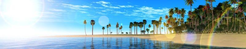Oceanu zmierzch, wyspa w dennym, panoramicznym widoku zmierzch w morzu, zdjęcie royalty free