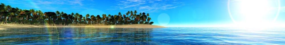 Oceanu zmierzch, wyspa w dennym, panoramicznym widoku zmierzch w morzu, fotografia stock