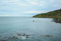 Oceanview from Bluff Hill, Southernmost point in New Zealand stock images