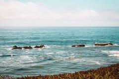 Oceanview dalla costa di California, Stati Uniti Fotografia Stock Libera da Diritti