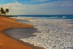 Oceanview de la puesta del sol, playa arenosa con la espuma blanca en ella imagen de archivo libre de regalías